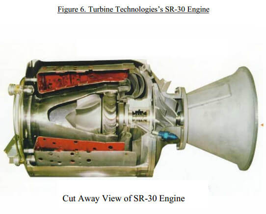 Cutaway view of a turbine engine