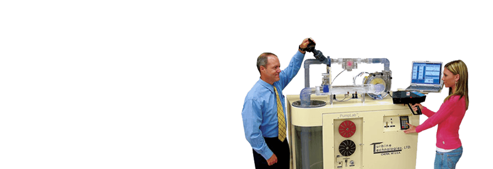 Teacher Demonstrates to a Student How to Use a Centrifugal Pump
